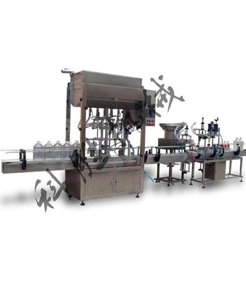 食用油灌装旋盖贴标喷码线设计方案_香油灌装生产线